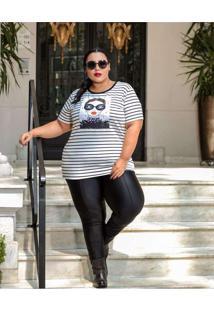 Blusa Listrada Plus Size Estampada Multicores