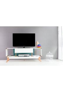 Rack Tv Retrô Vintage Branco/Azul Prestage 1 Gaveta 1,4M Mdf Com Pés Madeira Cor Jatobá - 140X40X55 Cm