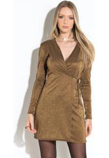 Vestido Preto Com Dourado Transpassado