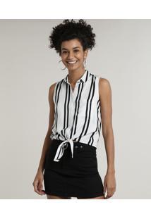 Camisa Feminina Listrada Com Bolso Sem Manga Branco