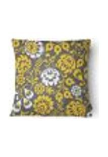 Capa Para Almofada Flores Veludo 43X43Cm Cinza, Amarelo
