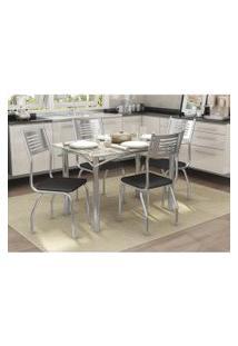 Conjunto Mesa Elba Com 4 Cadeiras Munique Preto E Cromado Kappesberg Crome