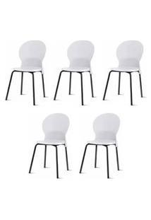 Kit 5 Cadeiras Luna Assento Branco Base Preta - 57698 Branco Base Preta