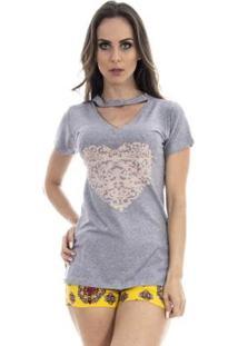 Camiseta 4 Folhas Com Apliques Na Frente Feminina - Feminino-Cinza