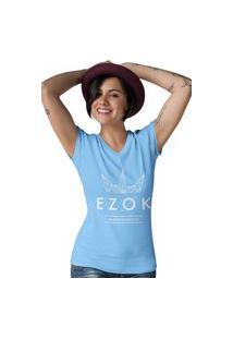 Camiseta Feminina Gola V Ezok Urban Azul Claro