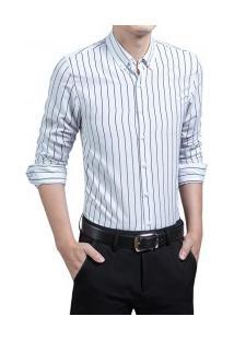 Camisa Masculina Listrada Slim Manga Longa - Branco