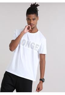 """Camiseta Ace Com Tela """"Stronger"""" Branca"""