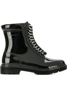 Casadei Ankle Boot Com Amarração - Preto
