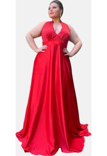 Vestido De Festa Formatura Tnm Collection Longo Vermelho Plus Size