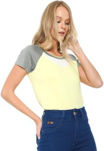 Camiseta Lunender Recortes Amarela/Cinza
