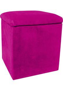 Puff Decorativo Baú Dani Quadrado Suede Pink - D'Rossi