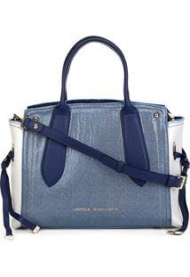 Bolsa Couro Jorge Bischoff Shopper Jeans Feminina - Feminino-Azul