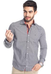 Camisa Tony Menswear Xadrez Slim Preta