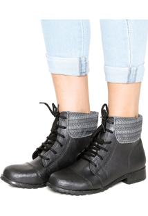 Bota Coturno Dafiti Shoes Lapela Preto