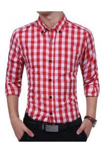 Camisa Masculina Casual Xadrez Manga Longa - Vermelho