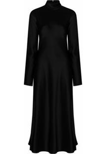 Nanushka Vestido Ashlee Com Efeito De Cetim - Preto