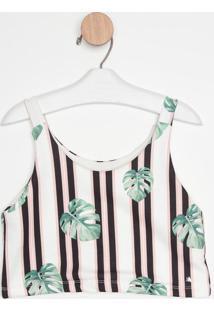 Blusa Cropped Listrada Com Folhagens- Branca & Pretaguess