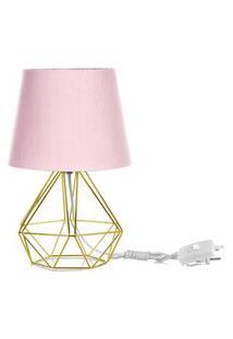 Abajur Diamante Dome Rosa Com Aramado Dourado