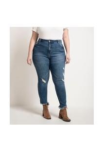 Calça Skinny Jeans Com Barra Mordida E Puidos Curve & Plus Size | Ashua Curve E Plus Size | Azul | 56