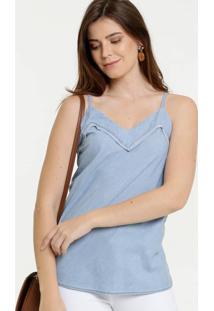 Blusa Feminina Jeans Alças Finas Gups