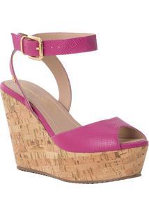 Sandália Plataforma Em Couro- Pink & Marrom- Salto: Carmen Steffens