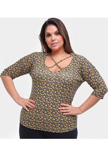 Blusa Naiff Micro Floral Decote X Plus Size Feminina - Feminino-Preto