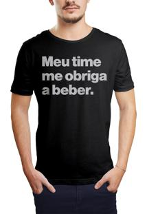 Camiseta Hunter Meu Time Me Obriga A Beber Preta