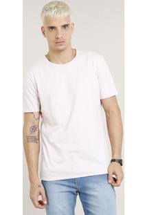 Camiseta Masculina Longa Manga Curta Gola Careca Rosa Claro