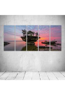 Quadro Decorativo - Michigan Lake Huron Sunset Rock Trees - Composto De 5 Quadros