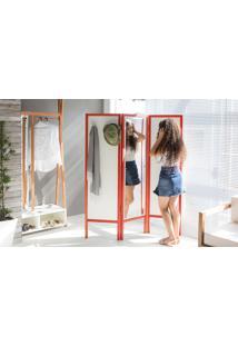 Biombo Com Espelho Em Mdf E Madeira Cabideiro Divisor De Ambientes Ammy Branco Com Vermelho 138X165 Cm