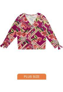 Camisa Feminina Botões Estampa Floral Rosa