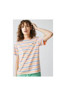 Camiseta Feminina Em Algodão Listrado Com Decote Careca Laranja
