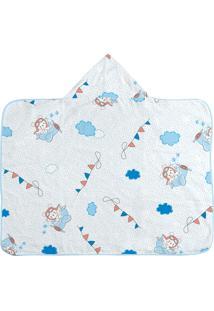 Toalha De Banho Com Capuz E Forro Fralda Azul Estampado Azul