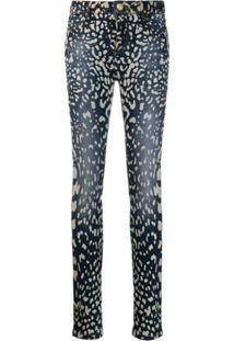 Philipp Plein Calça Jeans Skinny Com Estampa - Azul