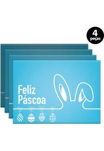 Jogo Americano Mdecore Páscoa 40X28Cm Azul 4Pçs