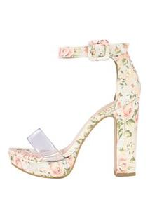 Sandália Salto Grosso Week Shoes Meia Pata Vinil Tecido Floral.