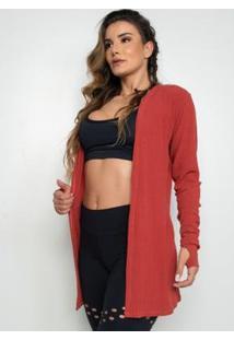 Cardigan Fitness Canelado Ferrugem - Feminino-Vermelho