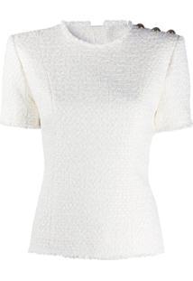 Balmain Blusa De Tweed Com Aplicação De Botões - Branco