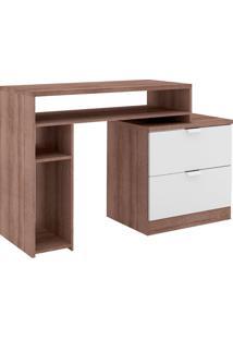 Escrivaninha Extensível 2 Gavetas 2 Nicho Msm 420 Rústico/Branco - Móvel Bento