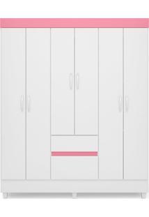 Guarda Roupa Casal 6 Portas Soft Branco/Rosa Demóbile