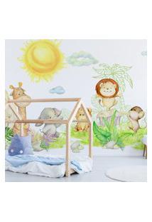 Papel De Parede Painel Infantil Animais Safari 6 Rolos 9M²