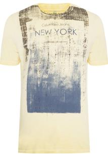 Camiseta Masculina Estampa New York - Amarelo