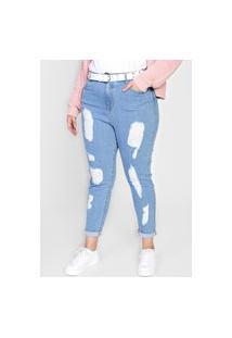 Calça Jeans Forever 21 Plus Skinny Destroyed Azul