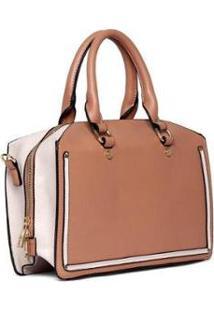 Bolsa Nice Bag Handbag Tiracolo Alça Dupla Fixa Feminina - Feminino-Marrom