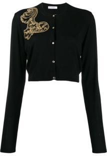 Versace Collection Cardigan Com Bordado - Preto