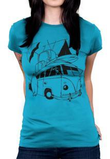 Camiseta Baby Look Hshop Kombi Azul