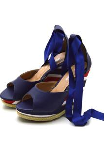 Sandã¡Lia Anabela Com Tiras Paralelas Em Napa E Salto Color - Azul Marinho - Feminino - Dafiti