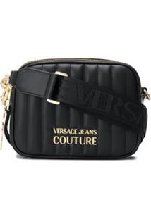 Versace Jeans Couture Bolsa Transversal Matelassê Com Logo - Preto