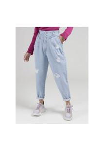 Calça Jeans Slouchy Destroyed Sawary Feminina Azul
