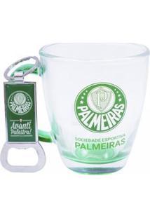 Kit Caneca De Vidro+Abridor De Garrafas 370Ml Palmeiras - Unissex